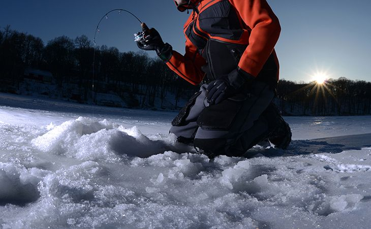 Ice fishing early and late