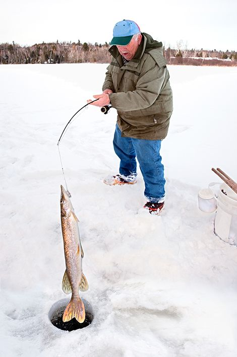 ice fishing man
