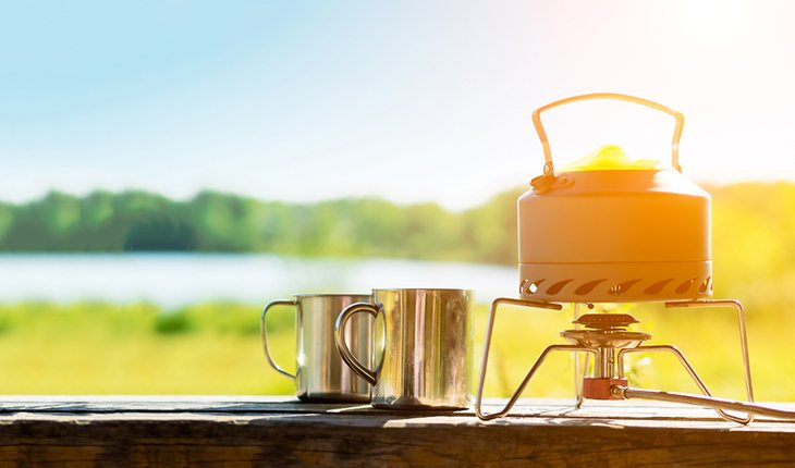 Making Coffee Or Tea On A Gas Burner On The Nature